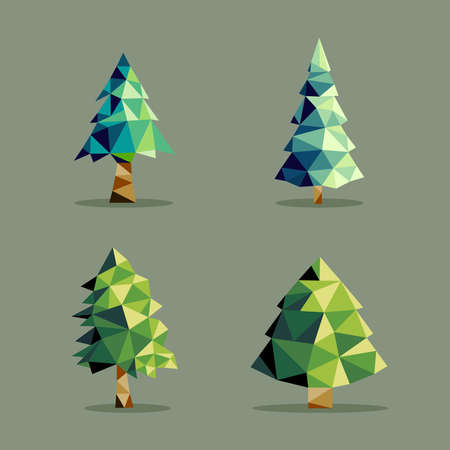 origami: Set of polygonal origami pine tree icon illustration. Ideal for web icon, ecology brochure and botany book cover. EPS10 vector file.