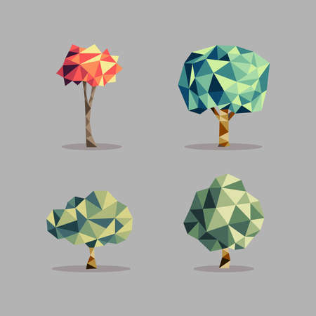 Triangle origami tree icons illustration set. Seasons concept ideal for web icon, ecology brochure and botany book cover. EPS10 vector file. Vector