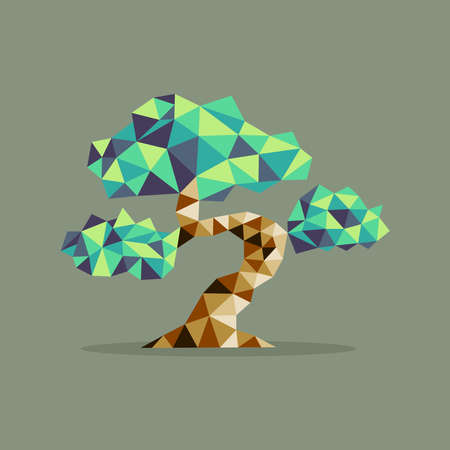 bonsai: Origami Bonsai triangle tree abstract illustration. Ideal for web icon, ecology brochure and botany book cover. EPS10 vector file.