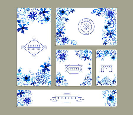 Set of romantic invitation cards with hand drawn watercolor flowers a leaves illustration. Ideal for Spring party, wedding, birthday and valentines day. EPS10 vector file. 版權商用圖片 - 36795679