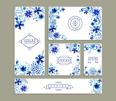 Set van romantische uitnodiging kaarten met de hand getekende aquarel bloemen een bladeren illustratie. Ideaal voor lente feest, bruiloft, verjaardag en Valentijnsdag. EPS10 vector-bestand. Stock Illustratie