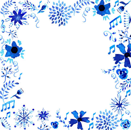 手工制造水彩花和留下葡萄酒例证。婚礼,周年纪念和生日快乐贺卡的理想框架。EPS10矢量文件。