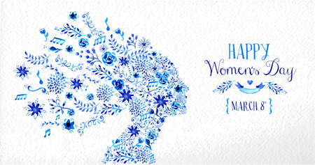 Happy Women Day vintage greeting card illustration. Woman head silhouette with diversity flowers and text 8th March. EPS10 vector file.