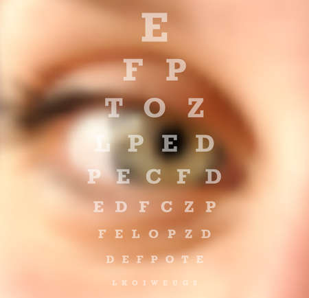 Eye test vision chart close up blurred effect. Ophthalmology concept background. vector file with transparency layers. Иллюстрация