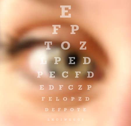 Oogtest visie grafiek close up wazig effect. Oogheelkunde concept achtergrond. vector-bestand met transparantie lagen.