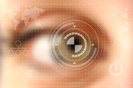 tecnología: Concepto de tecnología Infografía. Ojo humano borrosa efecto con la pantalla virtual. archivo vectorial con capas de transparencia.
