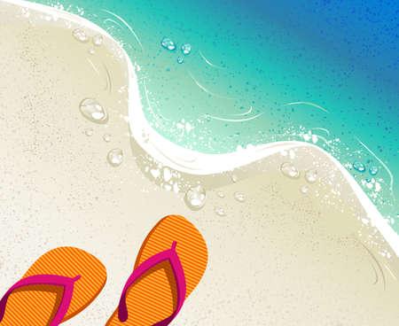 Playa y mar tropical con chanclas de colores, arena como fondo para el diseño horario de verano. Archivo de vectores organizados en capas para editar fácilmente.