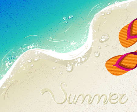 summertime: Beach and tropical sea with colorful flip flops, sand as background for summertime design. vector file organized in layers for easy editing.
