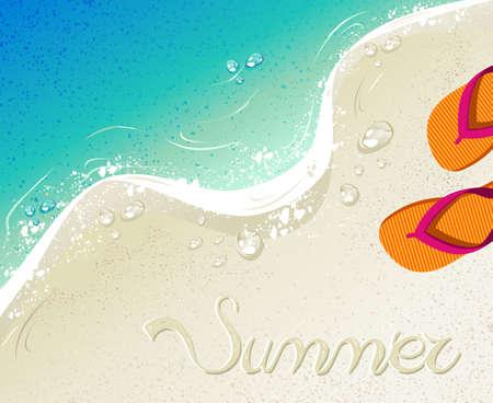 Playa Y Mar Tropical Con Chanclas De Colores, Arena Como Fondo Para ...