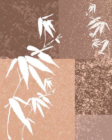 Zen Bamboo vintage texture illustration patchwork background. vector file organized in layers for easy editing Vector