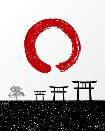 Zen brush stroke and Japan scenery illustration. vector file organized in layers for easy editing Vector