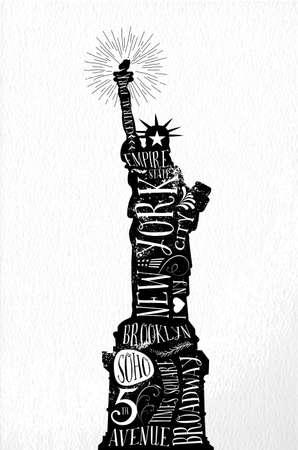 ニューヨーク市の記念碑ビンテージ ラベル イラスト。スタンプ、ポスター印刷、グリーティング カードに最適です。ベクター ファイル。