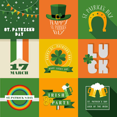 irish pub label: Set of flat design elements for St Patricks day. Ideal for greeting card, poster and web template. vector file organized in layers for easy editing.