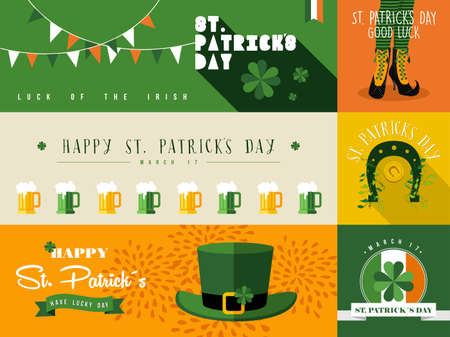 Set of flat design elements and banner for St Patricks day. Ideal for greeting card, poster and web template. vector file organized in layers for easy editing. Illustration