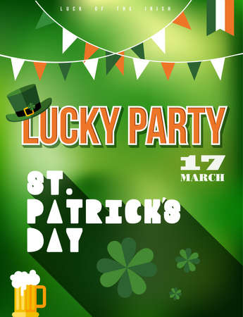 irish pub label design: St Patricks day party poster illustration. Ideal for print and web promo event. vector file. Illustration