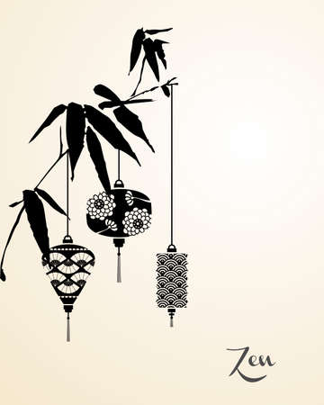 zen: Zen concept, chinese lamp hanging on bamboo branch greeting card illustration background. vector file organized in layers for easy editing.
