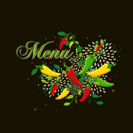 Mexican food menu design illustration with colorful chili pepper. Ideas for cover, card, poster and flyer design.