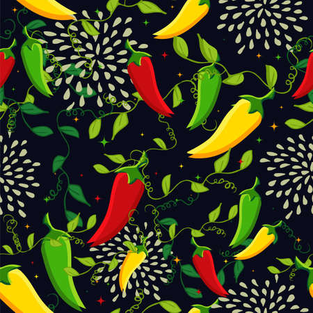 burning paper: Mexican food seamless pattern background illustration with colorful chili pepper. Ideas for cover, fabric, poster and wrapping paper design. EPS10 vector file.