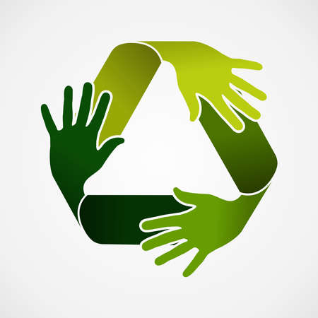 recycle symbol vector: Ecology and recycling teamwork concept illustration. Recycle symbol made with green hands. Vector file organized in layers for easy editing.