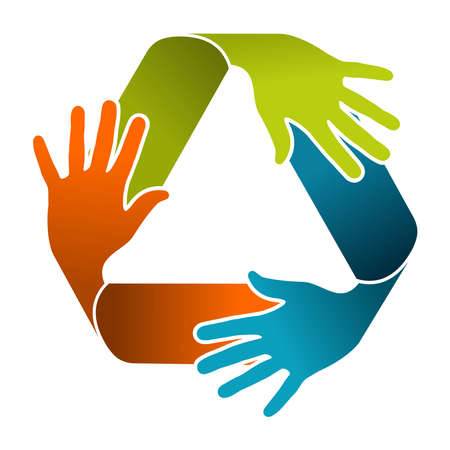 recycle symbol vector: Ecology teamwork concept illustration. Recycle symbol composition with color hands. Vector file organized in layers for easy editing.