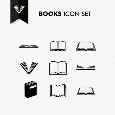 electronic book: Basic books icon set isolated over white. Vector file organized in layers for easy editing.