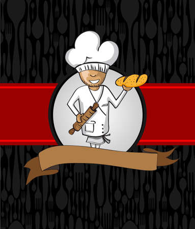 master chef: Baker master chef cartoon. Hand drawn illustration for menu design. Vector file organized in layers for easy editing.