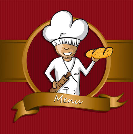 cook cartoon: Baker chef cartoon badge. Hand drawn illustration for menu design. Vector file organized in layers for easy editing.