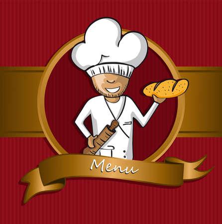 chef caricatura: Panadero insignia de dibujos animados chef. Ilustración Dibujado a mano para el diseño de menús. Vector el fichero ordenado en las capas para facilitar la edición. Vectores