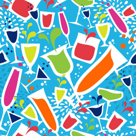 book club: Diversity colorful cocktail glass seamless pattern background.  Illustration