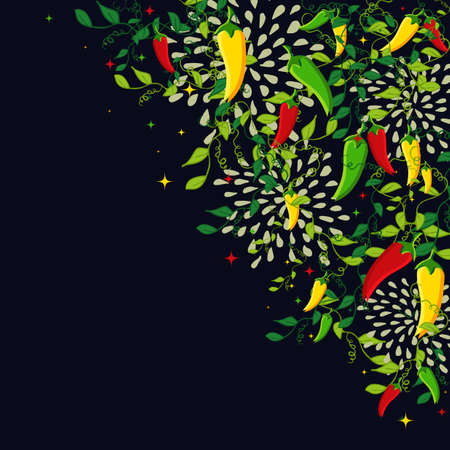 다채로운 칠리 고추와 멕시코 음식 배경 그림입니다. 메뉴, 카드, 포스터 및 전단지 디자인에 대한 아이디어. EPS10 벡터 파일입니다.