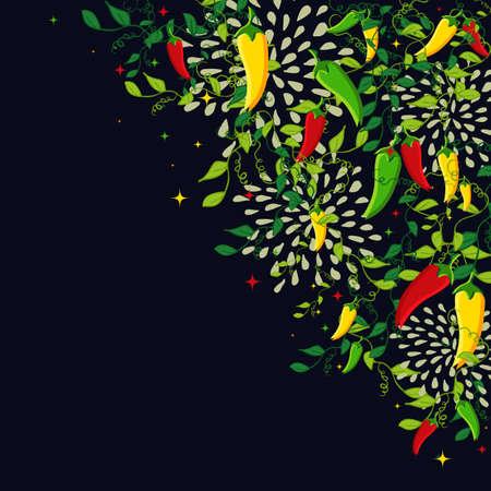 Mexicaans eten achtergrond illustratie met kleurrijke chili peper. Ideeën voor het menu, kaart, poster en flyer ontwerp. EPS10 vector-bestand. Stock Illustratie