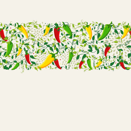 food to eat: Mexican food seamless pattern background illustration with colorful chili pepper. Ideas for menu, card, poster and flyer design. EPS10 vector file.