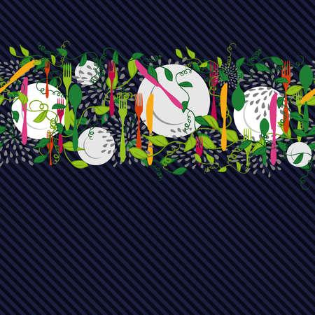 Silverware, dish and food kitchen elements design seamless pattern illustration. Illustration