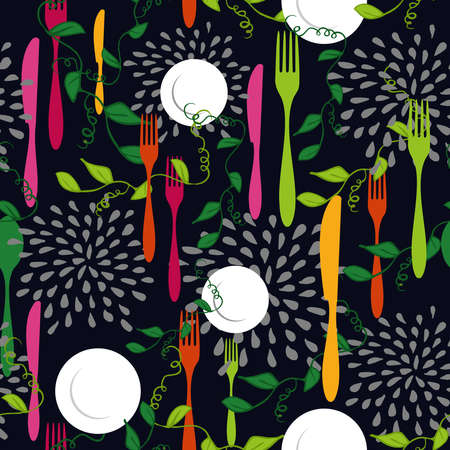 Food seamless pattern concept illustration with colorful silverware, dish and kitchen elements design.  Illustration