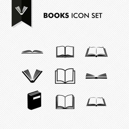 open book icon: Basic books icon set isolated over white. Illustration