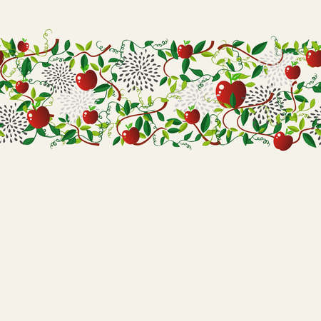 cooking book: Red apple food seamless pattern garland illustration. Ideal for menu, book cover and fabric.  vector file.