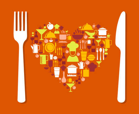 Love food icons illustration background. Ideal for restaurant menu, book cover and website. EPS 10 vector file. Vector
