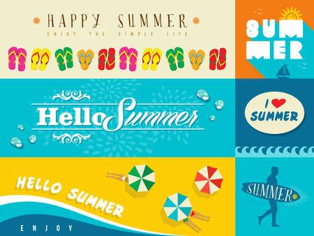 여름 휴가를위한 평면 설계 배너의 집합입니다. 인사말 카드, 인쇄 포스터 및 웹 사이트에 이상적입니다. EPS10 벡터 파일입니다. 일러스트