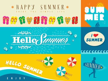 Set of flat design banners for summer and vacation. Ideal for greeting card, print poster and website. EPS10 vector file. 向量圖像