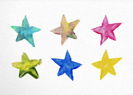 star: Set of watercolor stars elements hand drawn illustration. EPS10 vector file organized in layers for easy editing. Illustration