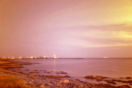 chill out: Vintage summer seashore cityscape. Chill out moment concept photography