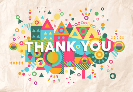 fun: Thank you colorful typography Poster. Inspiring motivation quote background ideal for greeting card design. EPS10 vector file.