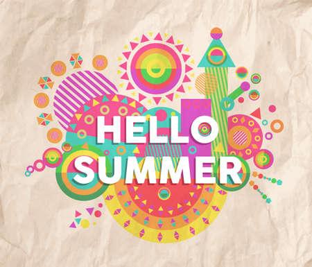 こんにちは夏のカラフルなタイポグラフィ ポスター。インスピレーションの動機引用デザイン。休日やマーケティング キャンペーンの捉え方に最適
