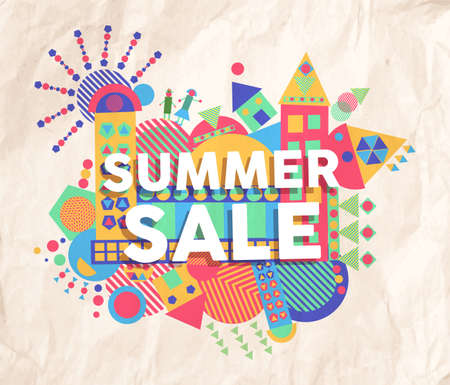 fonts vector: Summer sale colorful typography Poster. Inspiring motivation quote background. Ideal for promotion poster and offer tag design. EPS10 vector file.