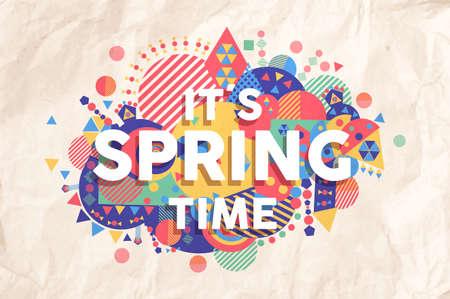 inspiracion: Tiempo de primavera colorida ilustraci�n tipograf�a. Fondo cita de motivaci�n inspiradora ideal para tarjetas de felicitaci�n y comercializaci�n del dise�o. Archivo vectorial EPS10.