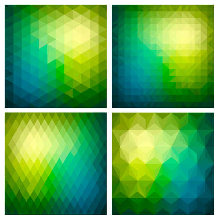 moire: Set of abstract geometric pattern seamless background with green triangles and polygons shapes. Ideal for web and app template book cover fabric and wrapping paper design.