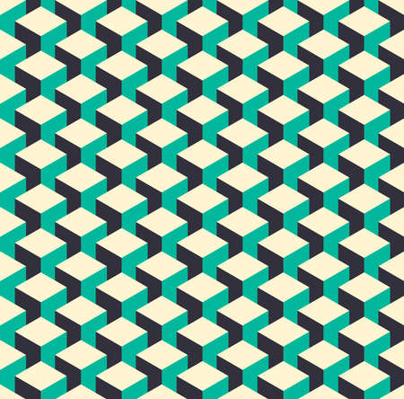 isometry: Abstract isometric 3d color retro cube shape seamless pattern background. Ideal for fabric design wrapping paper print and website backdrop.  vector file. Illustration