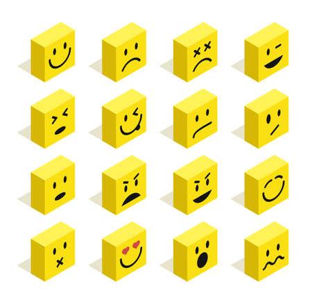 carita feliz caricatura: Conjunto de emoticonos ilustración plana isométrica con el fondo aislado. Ideal para chat en la web y diseño de aplicaciones. archivo vectorial.