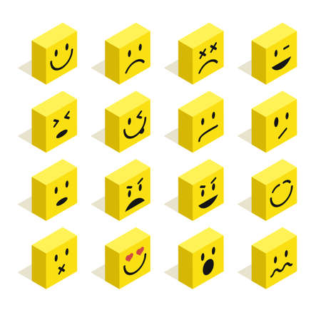 smiley face cartoon: Set of Emoticons isometric flat illustration with isolated background. Ideal for web chat and app design.  vector file.
