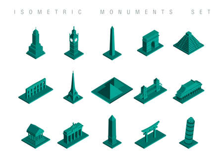 bigben: Set of flat isometric monuments of the world illustration. Ideal for travel brouchere web and infographic design. EPS10 vector file.